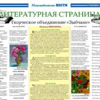 """ЛИТСТРАНИЦА. Издание """"Новозыбковские вести"""", 2019.08.27"""
