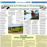 """ЛИТСТРАНИЦА. Издание """"Новозыбковские вести"""", 2018.04.03."""